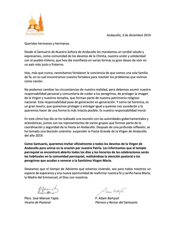 Comunicado Fiesta Grande de Andacollo 2019